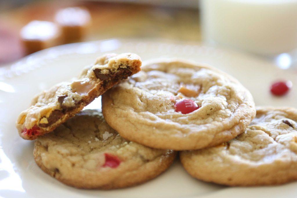 Sea Salt, Caramel, and m&m Cookies