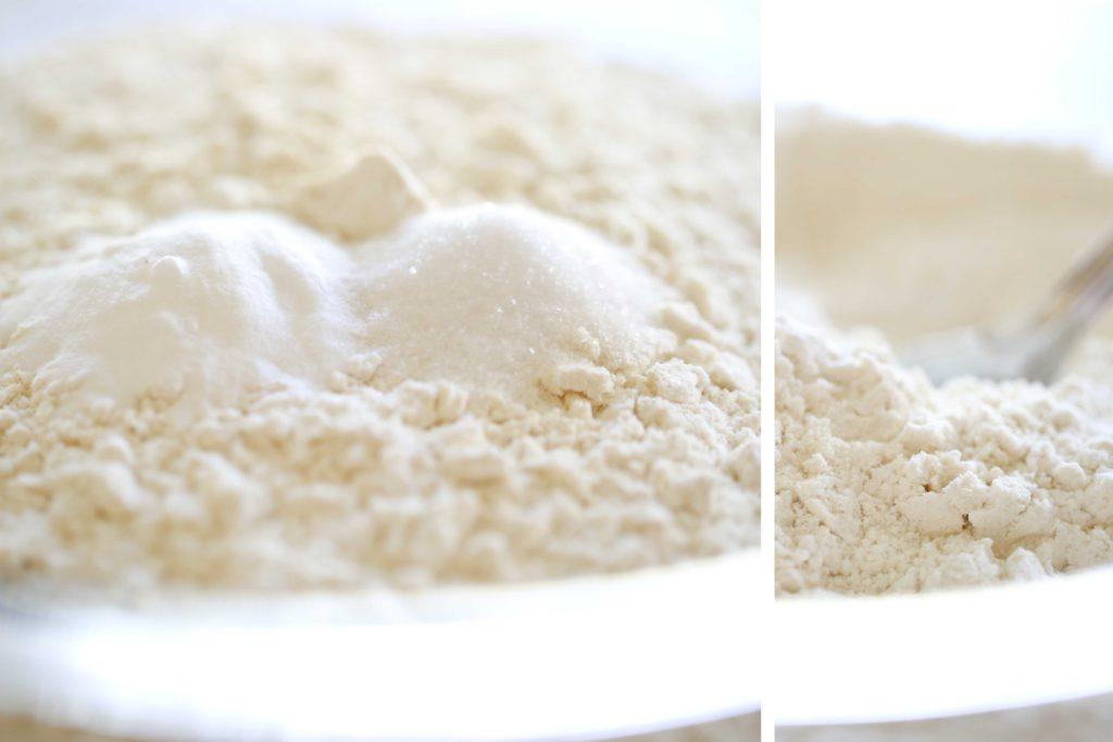 In a medium-sized mixing bowl, whisk together the following 4 cups flour 1 ½ teaspoons salt 1 ½ teaspoons baking soda ½ teaspoon baking powder