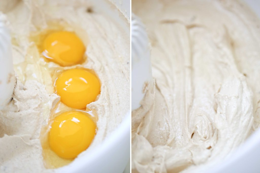 Add 3 eggs and beat for another 2 or 3 minutes.