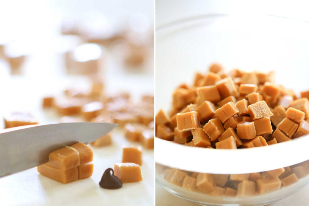 Unwrap and chop each caramel into 8 small pieces (about the size of a chocolate chip). Set aside for a minute.