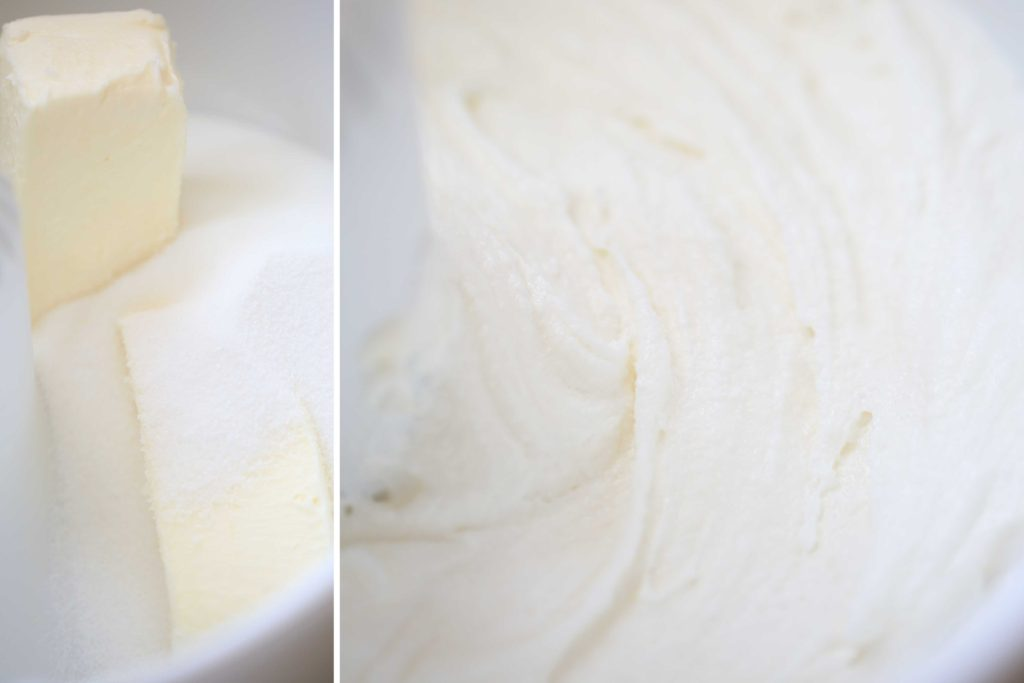 In bowl of a stand mixer, beat the following until light and fluffy. 1 cup unsalted butter, softened 2 cups sugar