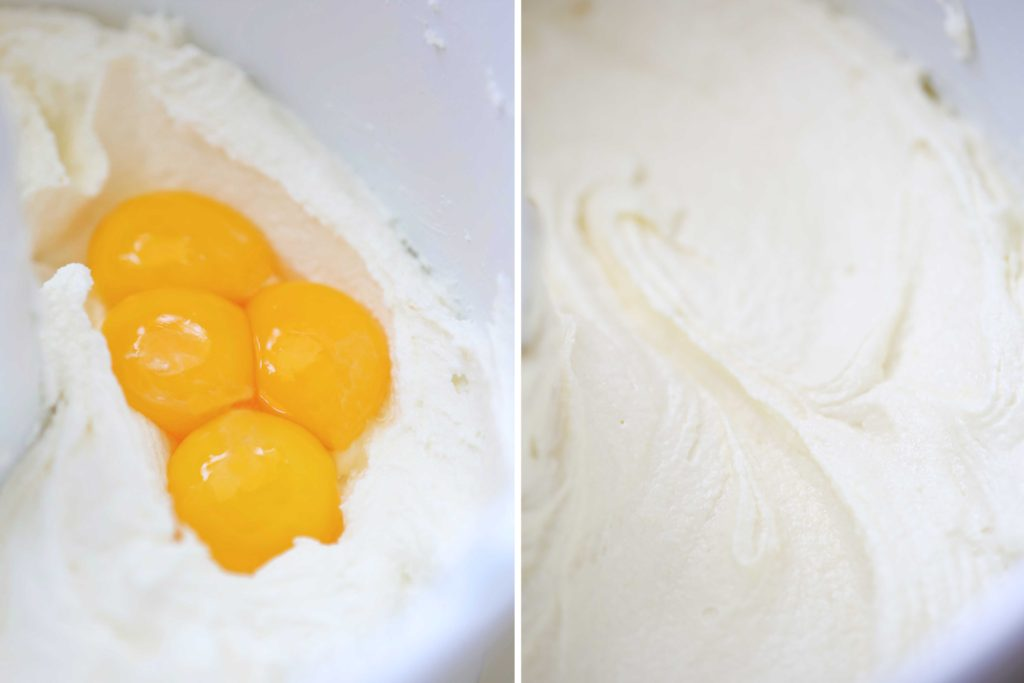 Add 4 egg yolks and beat just until completely incorporated.