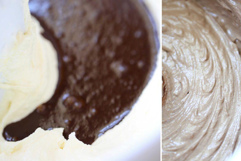 Stir in chocolate/vanilla mixture.