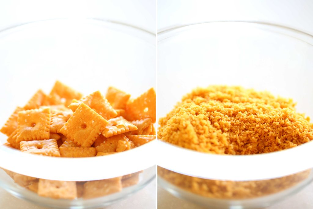 In a food processor, pulse 1 cup (2 ounces) cheese flavored crackers Process into fine crumbs, and set aside in a separate bowl.