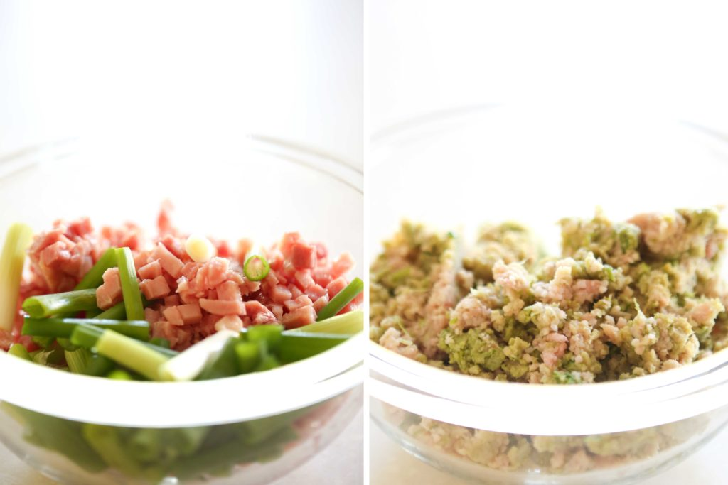 Now, in the food processor combine ½ pound (8 ounces) ham, diced 4 green onions, chopped into 1 inch segments Process until well minced.