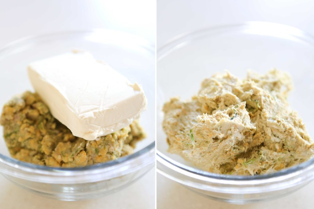 Now add to the food processor: 1 package (8 ounces) cream cheese, softened Process until completely mixed.
