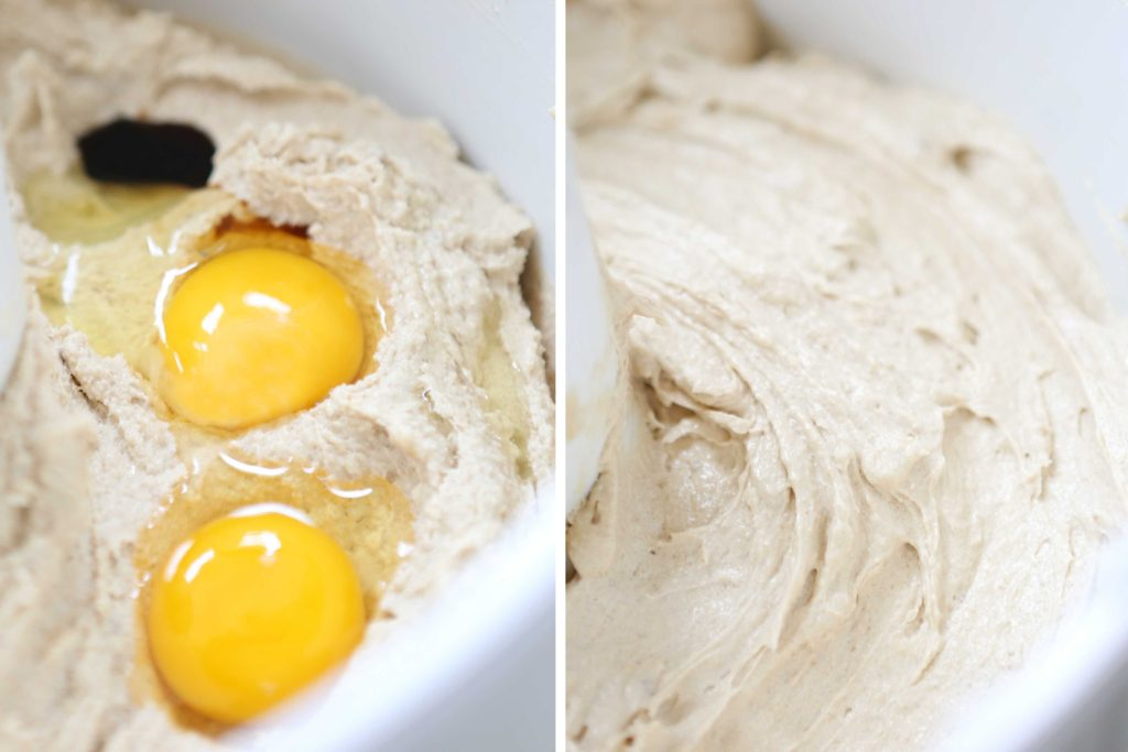 Add: 1 teaspoon vanilla 2 eggs Beat another 2-3 minutes until fluffy.