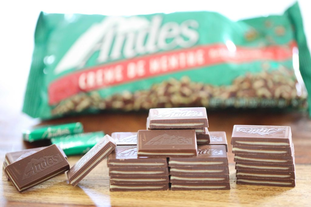 For these cookies you'll be using both Andes mints and Andes baking pieces. Unwrap, and set aside 96 Andes mints