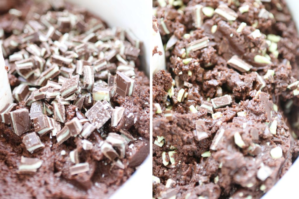 Fold in: 1 bag (10 ounces) Andes mint baking pieces