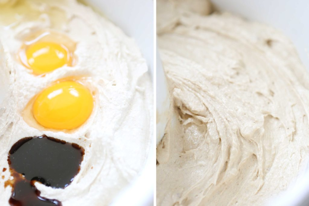 Add: 2 teaspoons vanilla 2 eggs Beat another 2-3 minutes until fluffy.