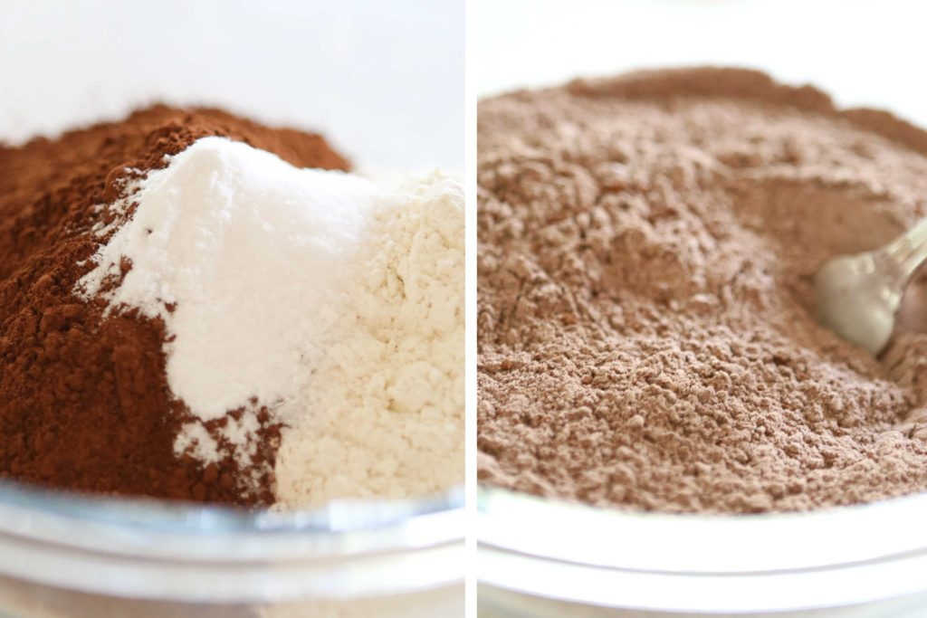 In a medium-sized mixing bowl, whisk the following: 2 cups flour 1 cup cocoa 2 teaspoons baking soda 1½ teaspoons salt