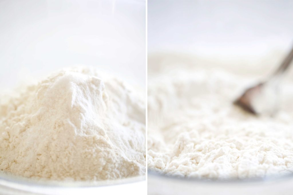 In a large mixing bowl, combine: 3 cups cake flour 1 tablespoon baking powder ½ teaspoon salt