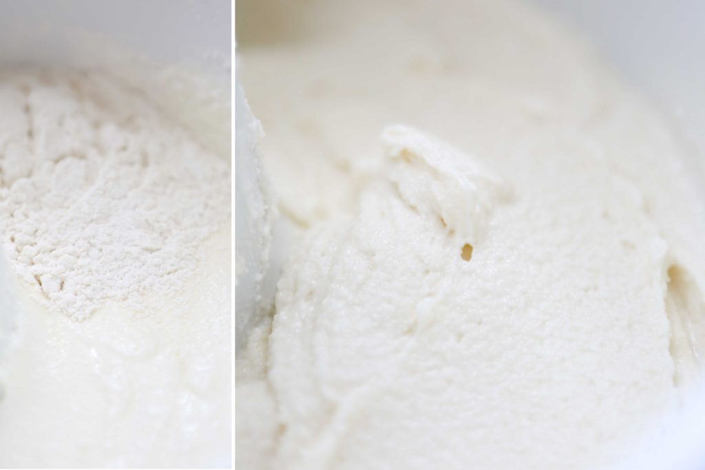 Alternately add 1/3 dry ingredients to the whipped butter and sugar, and mix to incorporate fully. Then ...