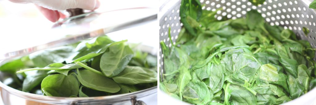 Steam the following for approximately 5 minutes (do NOT overcook). 1 ½ pounds fresh spinach You may use frozen spinach instead. In which case, don't cook it, thaw, and move on to the next step.