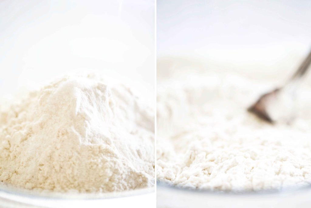 dry ingredients for Sweet Buttercream Peppermint Cake