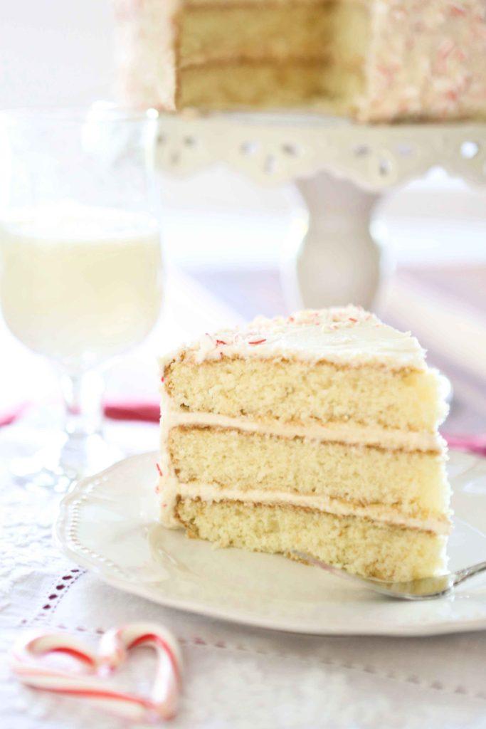 slice of Sweet Buttercream Peppermint Cake