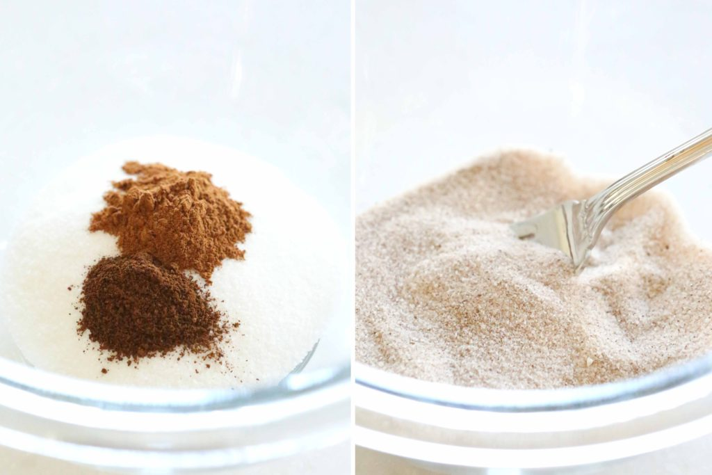 Start by making the topping. In a small bowl, combine the following: 2 tablespoons sugar ½ teaspoon cinnamon ¼ teaspoon ground cloves