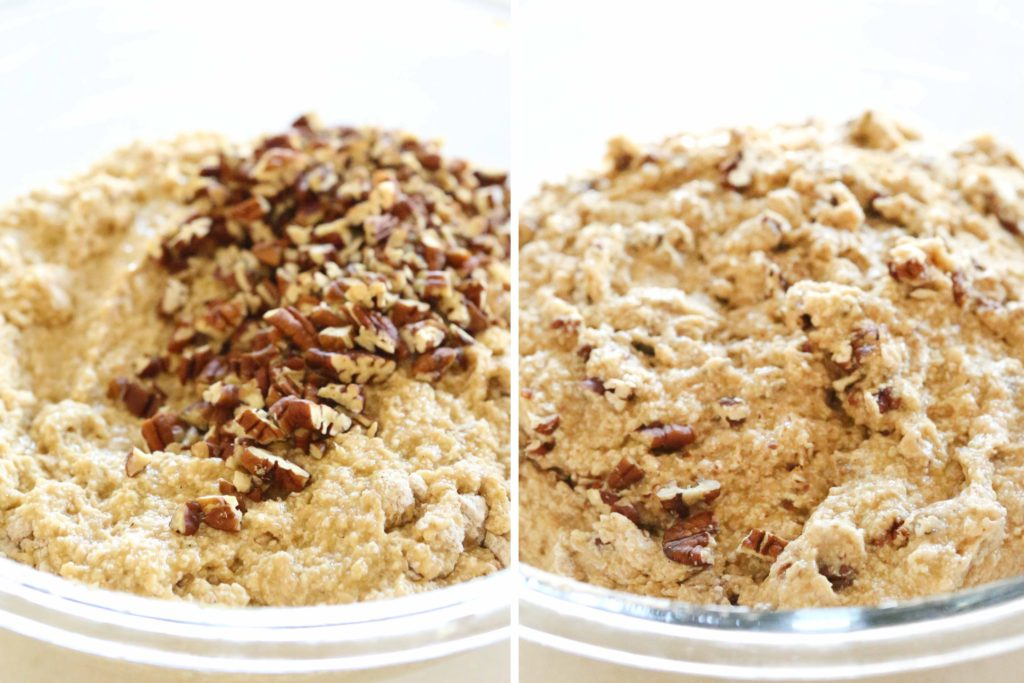 If you want to add nuts, now's the time to genly mix in: 1 cup pecans or walnuts (3.5 ounces), chopped This is completely optional.