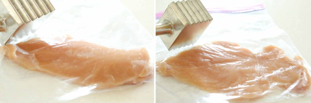Place the following in a zippered plastic bag: 1 ½ pounds boneless skinless chicken breasts, filleted (I ask the meat counter people to fillet them for me so that they're already thin) Pound with a meat mallet until they're uniformly about 1/3 inch thick.