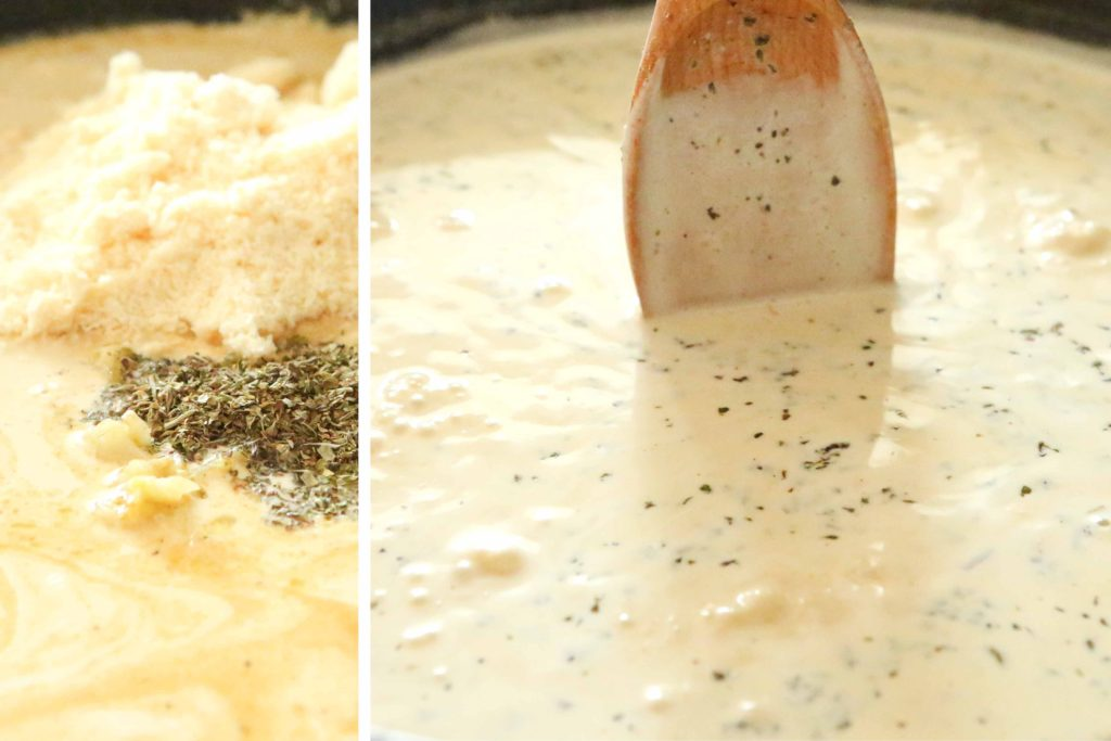 Add the sautéed garlic and: 2 cups heavy cream ½ tablespoon Italian seasoning 1 ½ cups Parmesan cheese Bring back to a boil.