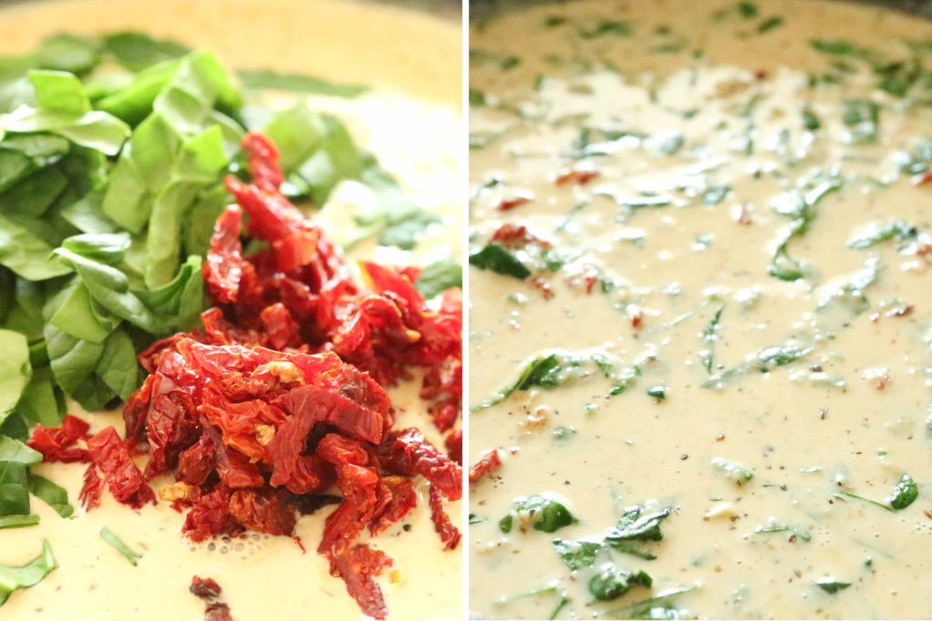 ... add: 1 ½ cups spinach, chopped ½ cup smoked sun-dried tomatoes Simmer just until spinach wilts (2-3 minutes).