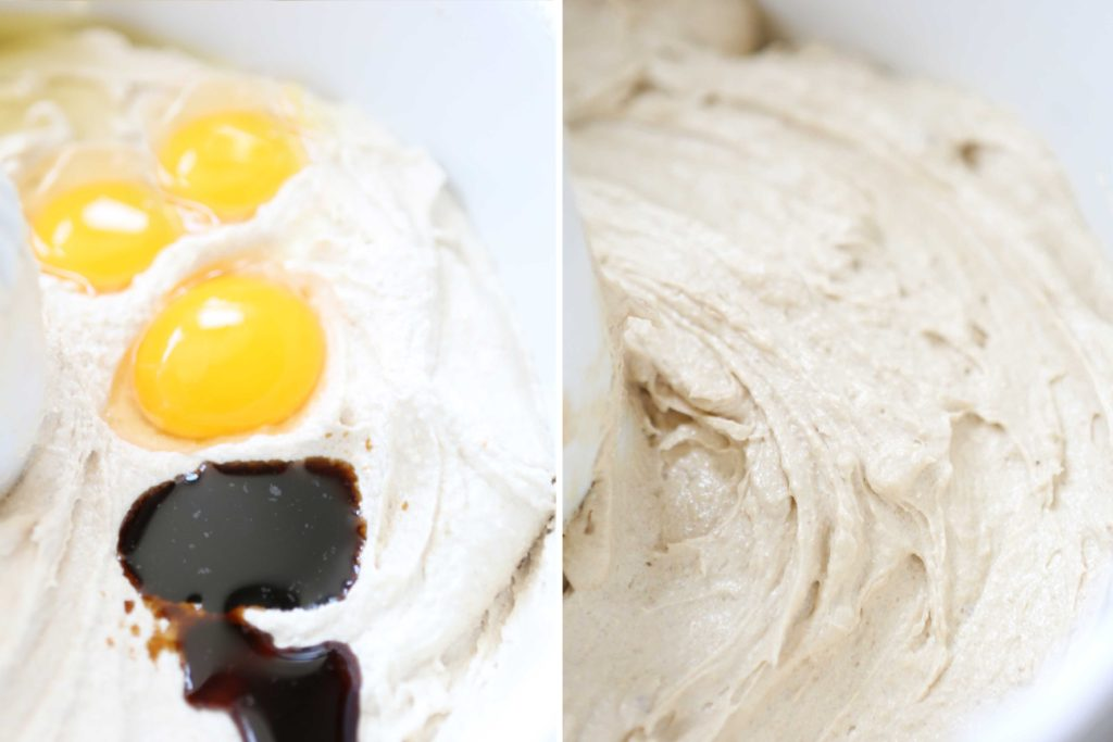 Add: 2 teaspoons vanilla 3 eggs Beat another 2-3 minutes until fluffy.