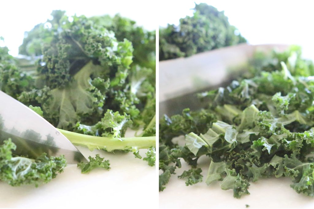 Wash and chop 2 cups kale First remove the stem, then chop the leaves. Set aside.