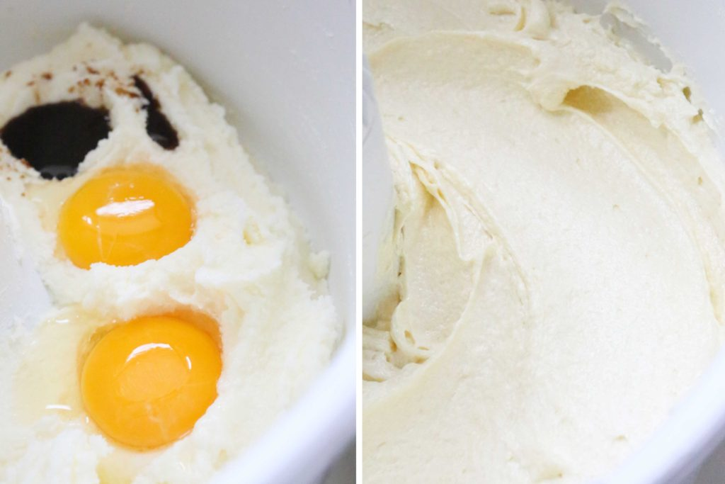 Add, and beat until creamy 2 large eggs 1 ½ teaspoon vanilla