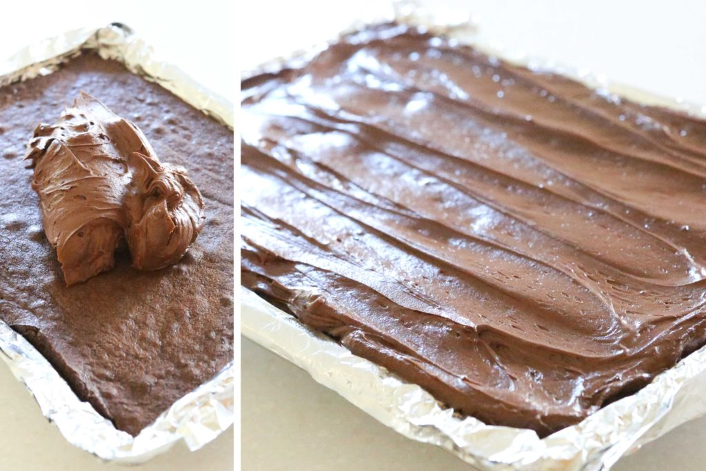Spread on warm brownies, and allow to cool completely before cutting.