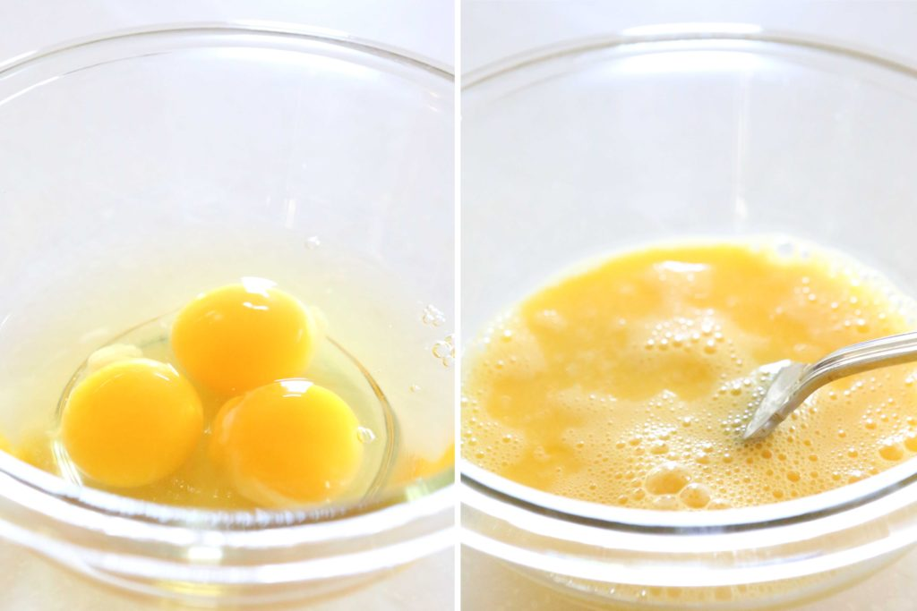 Lightly beat, and set aside: 3 eggs