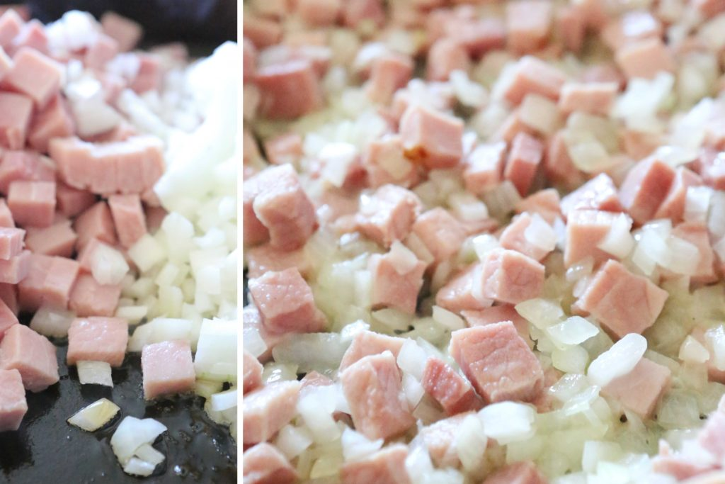 In a large skillet, (or wok) over medium-high heat, sauté: 1 pound (2 cups) ham, diced 1 onion, diced Cook until onions begin to wilt (3-5 minutes).