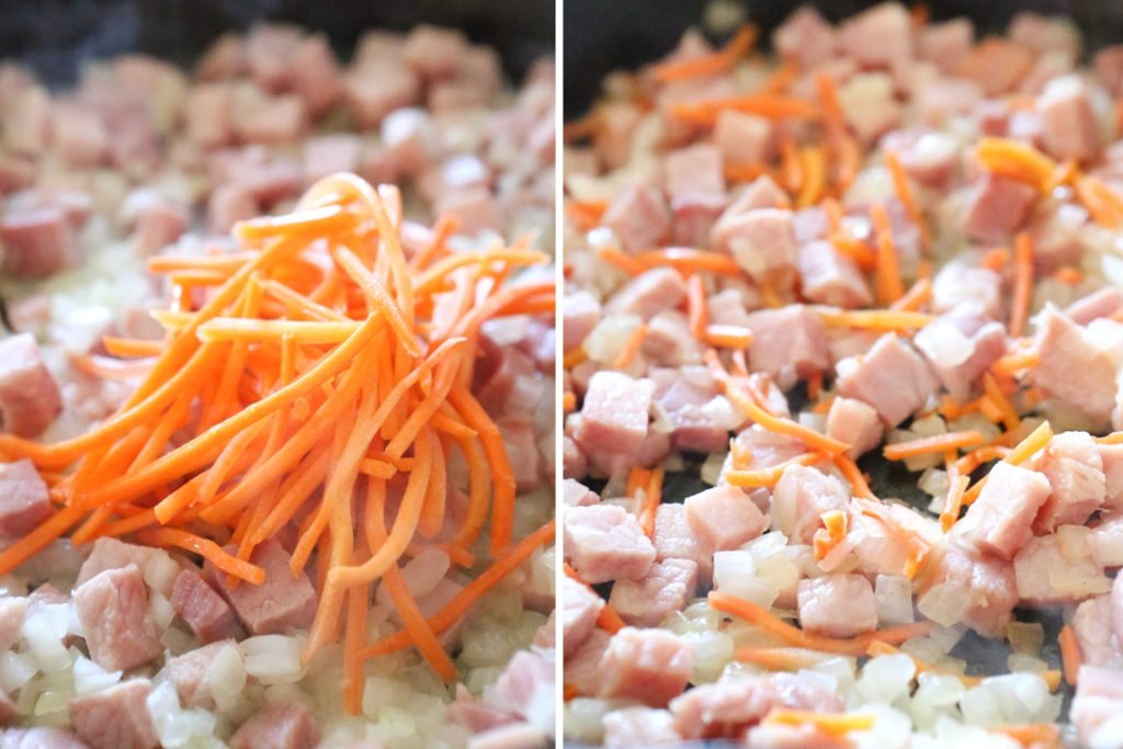 Add, and stir constantly for 2 minutes: ½ cup shredded carrots