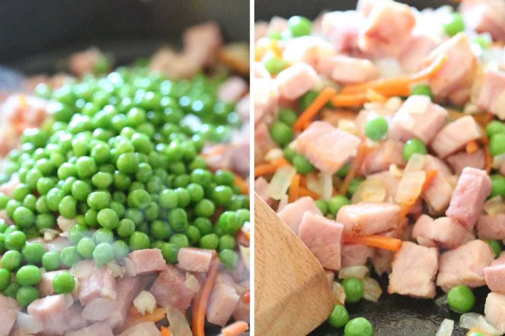 Add, and stir to combine: 1 cup frozen peas, thawed
