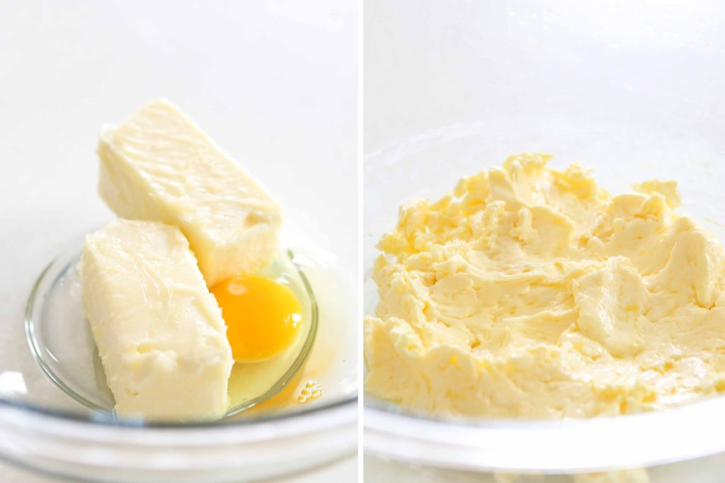 In another mixing bowl or stand mixer, combine: 1 cup unsalted butter, softened 1 egg Beat well (2-3 minutes).