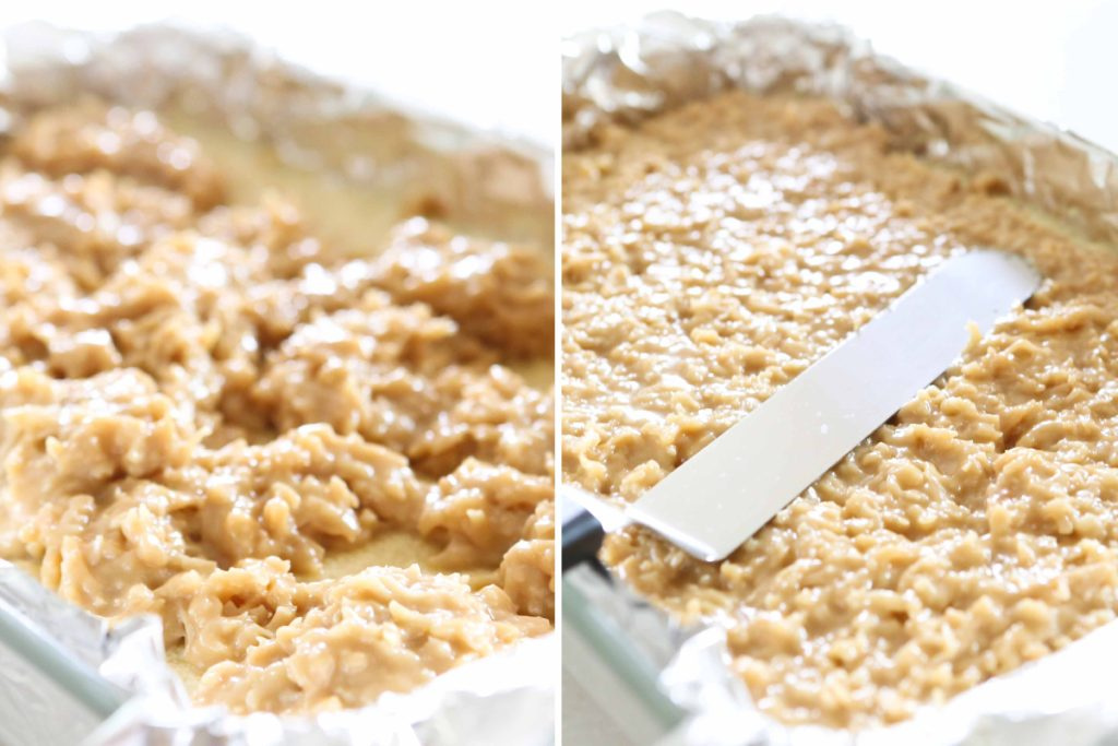 ... gently scoop filling onto hot crust (it will be fragile), and spread evenly.