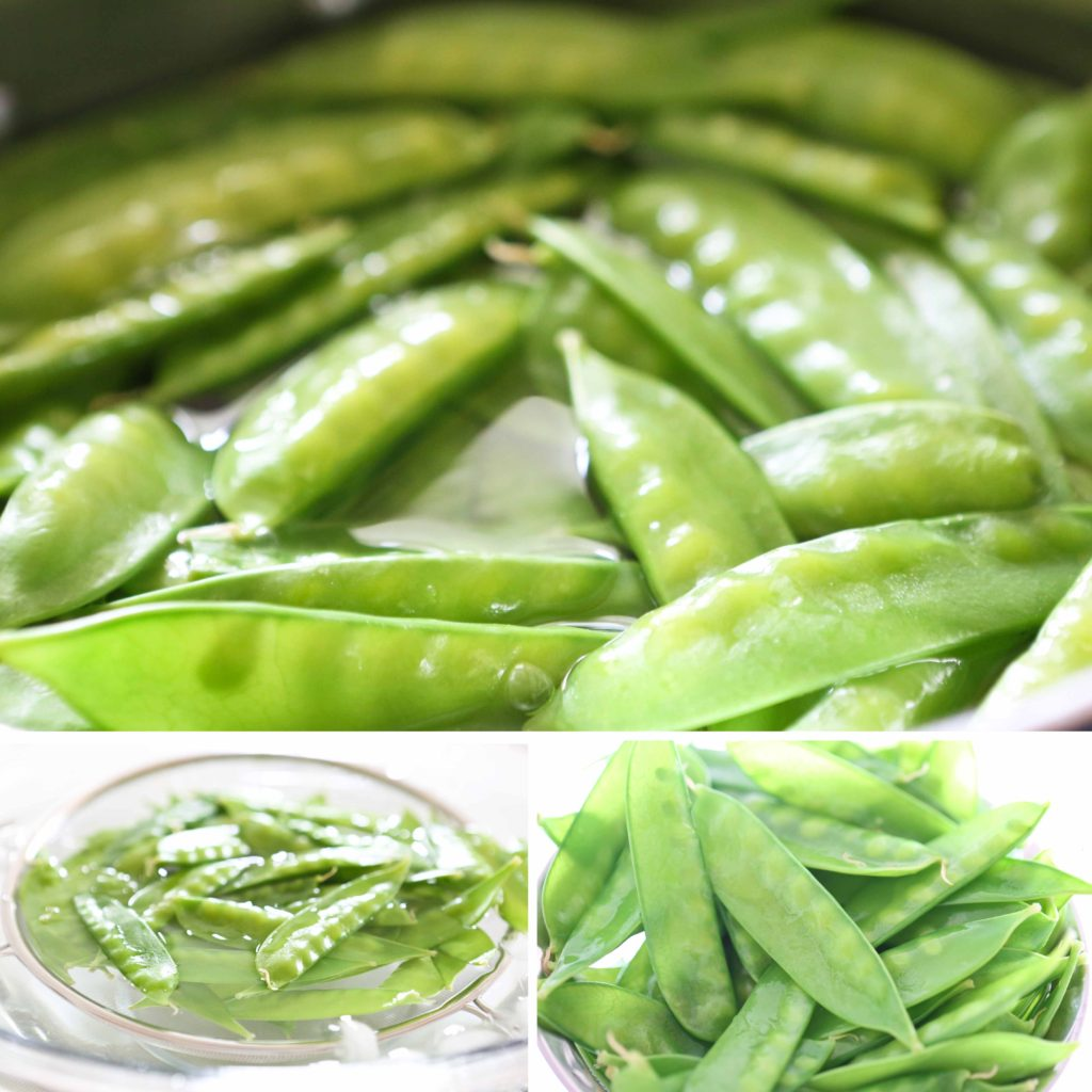 Boil the snow peas for 1 minute, and dunk them in the ice bath, as well. Drain, broccoli and peas, and pat dry.