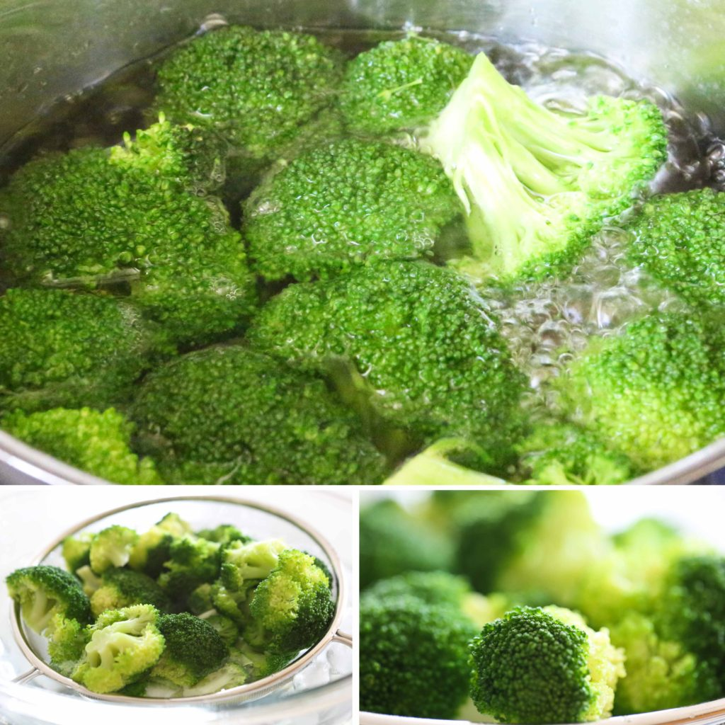 Add broccoli, and boil uncovered for 3-4 minutes. Drain, and immediately dunk into ice water to stop the cooking process and preserve the color, flavor, and texture. Drain