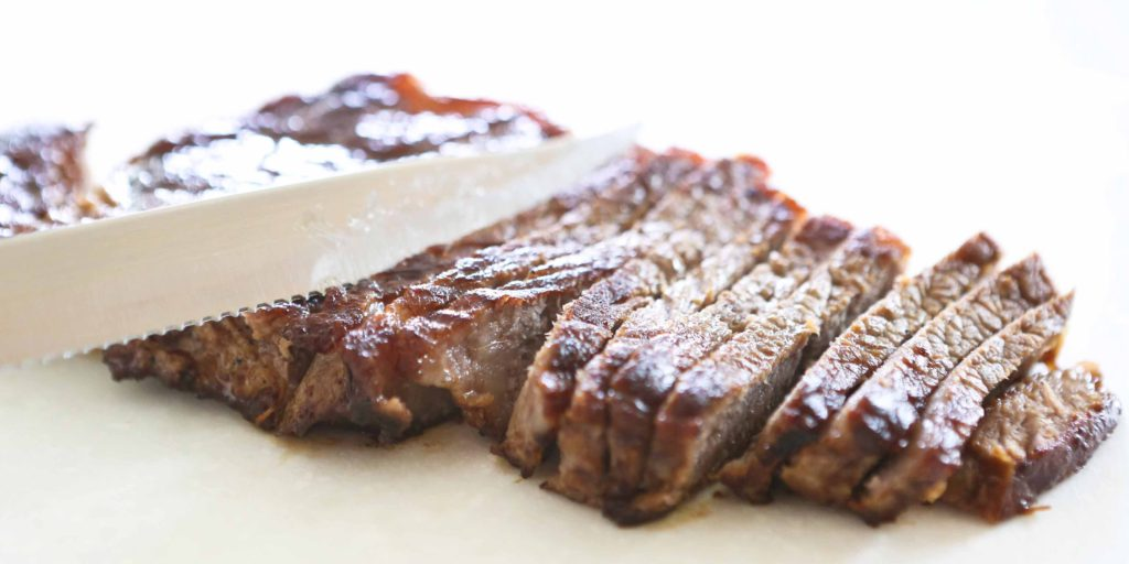 Remove steak from skillet, and slice thinly across grain.