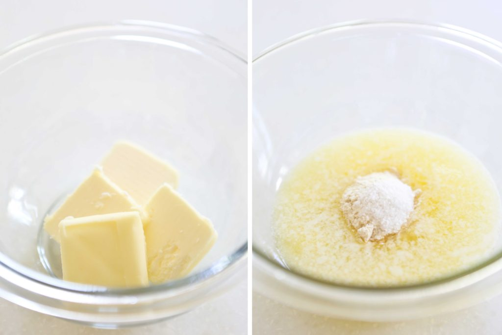 ... while they're in the oven, whisk together 4 tablespoons butter 1 teaspoon garlic powder ½ teaspoon salt