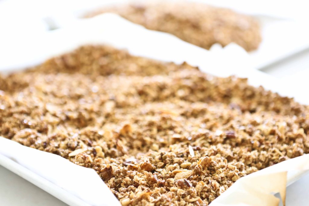 Fresh homemade granola with nuts.