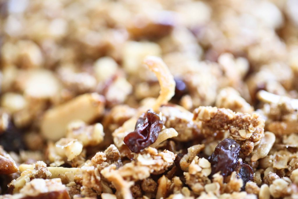 Fresh homemade granola with nuts and raisins