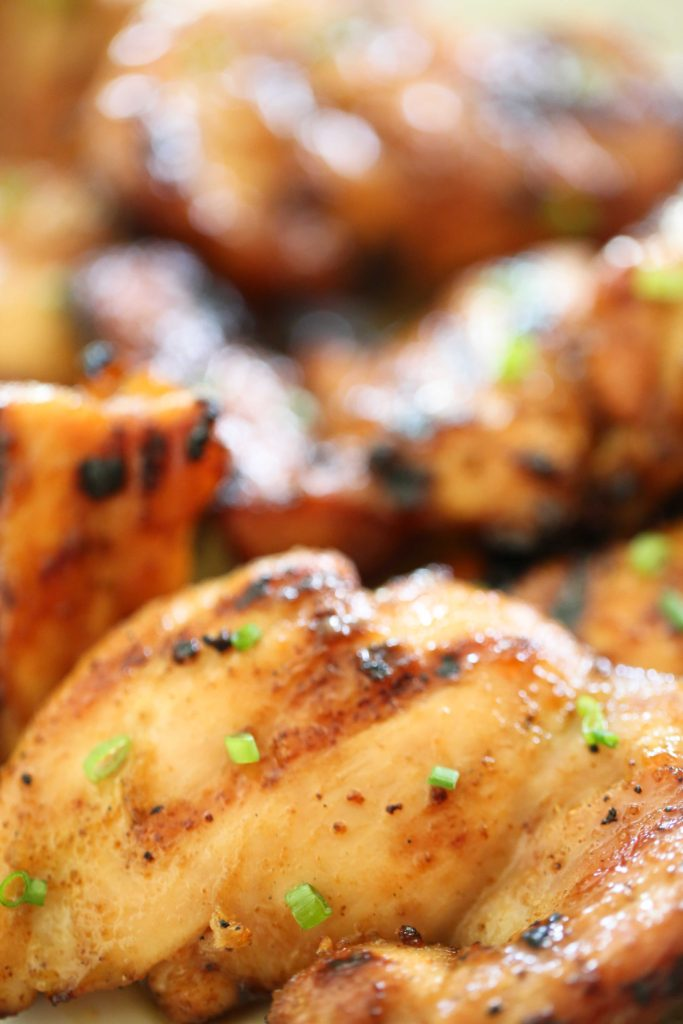 Grilled chicken thighs with spicy honey glaze