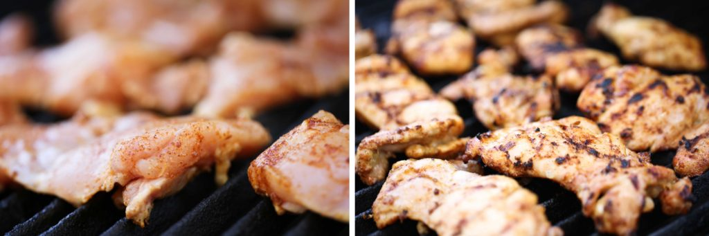 Grilling chicken thighs with spice rub
