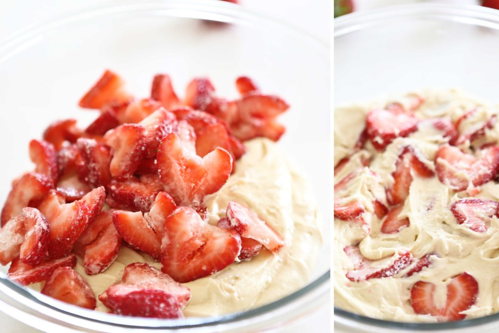 making strawberry breakfast cake