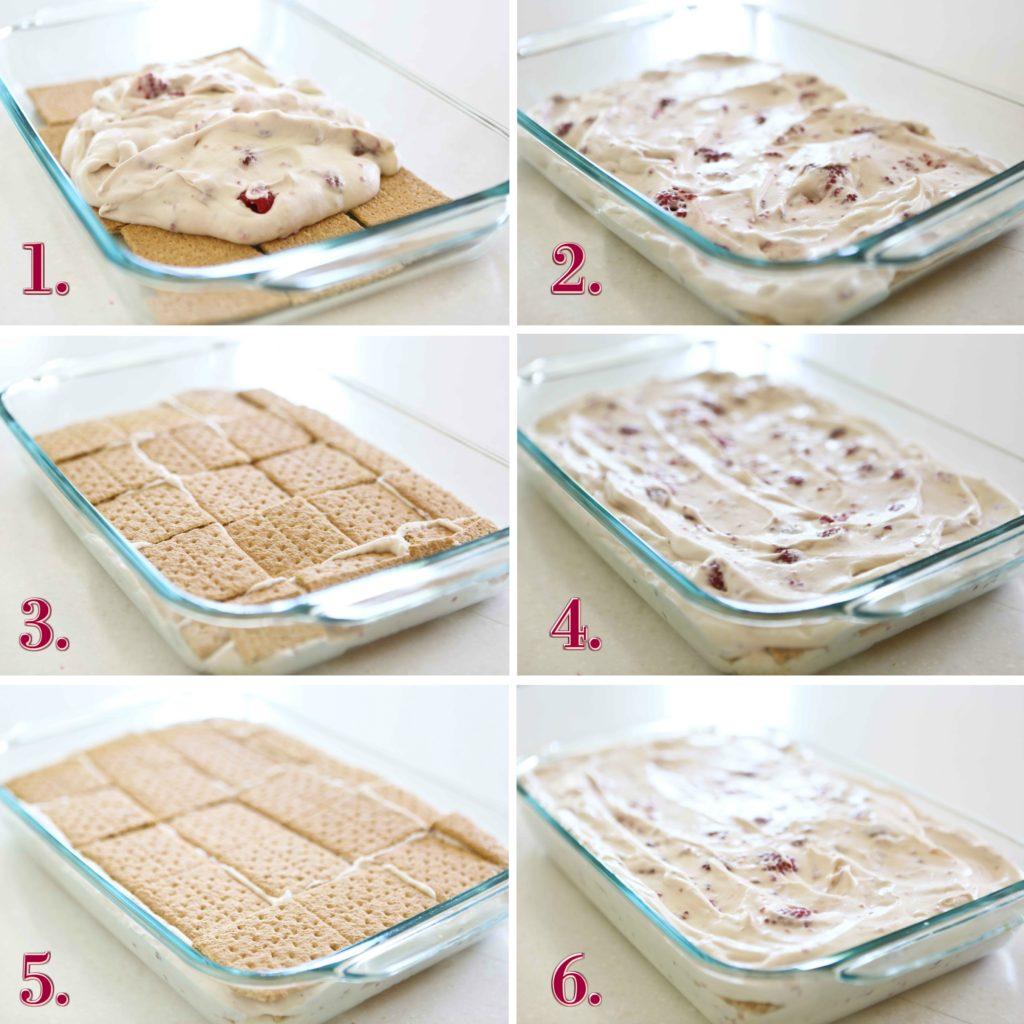 Steps for layering Homemade Raspberry Ice Cream Cake