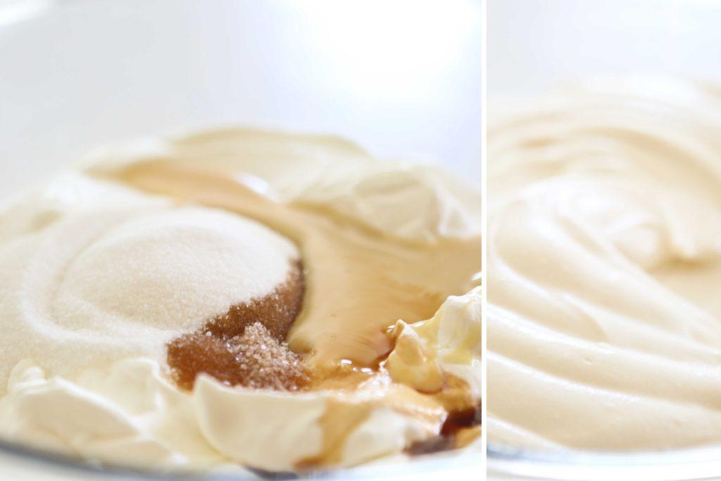 Combining ingredients for homemade Raspberry Ice Cream Cake