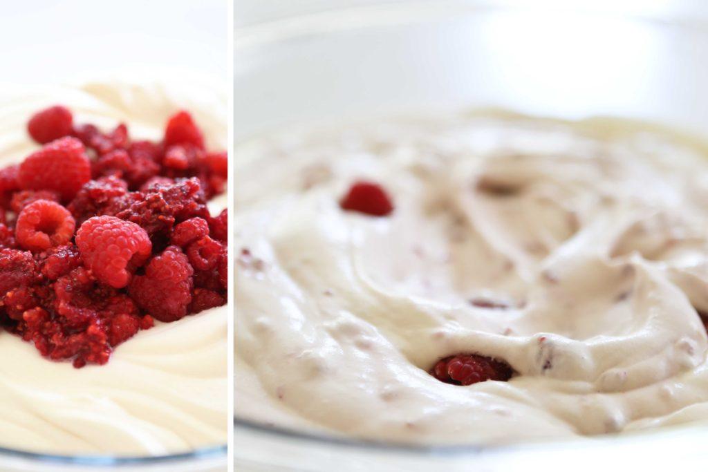 Mixing raspberries into homemade Raspberry Ice Cream Cake