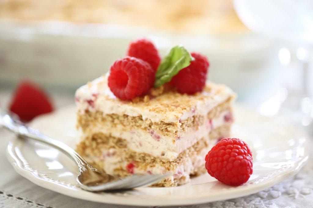 Square piece of homemade Raspberry Ice Cream Cake
