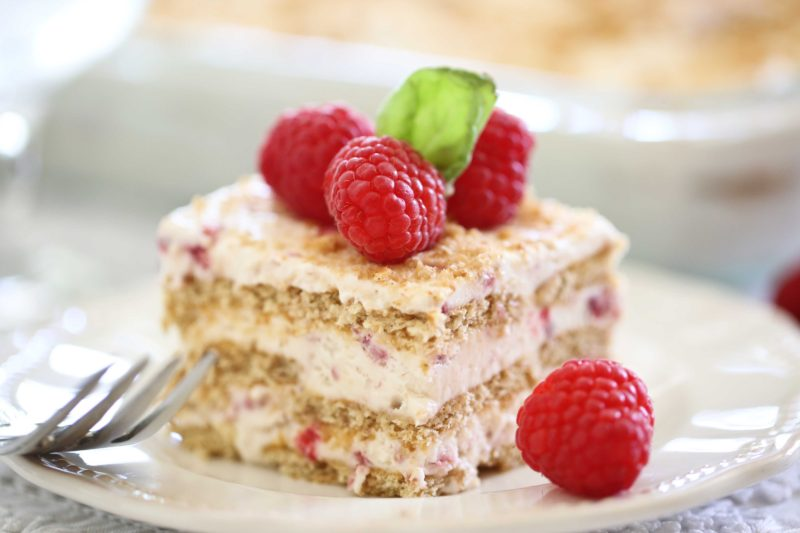 Square piece of homemade Raspberry Ice Cream Cake