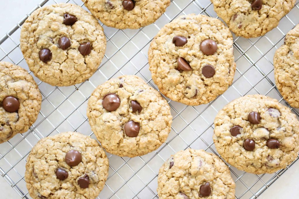 Chewy Choc~Oat~Chip Cookies on wire cooling rack